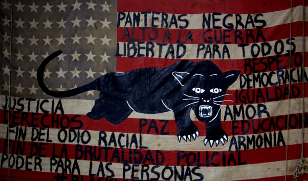 Black Panthers Flag. Acrylic on American Flag.