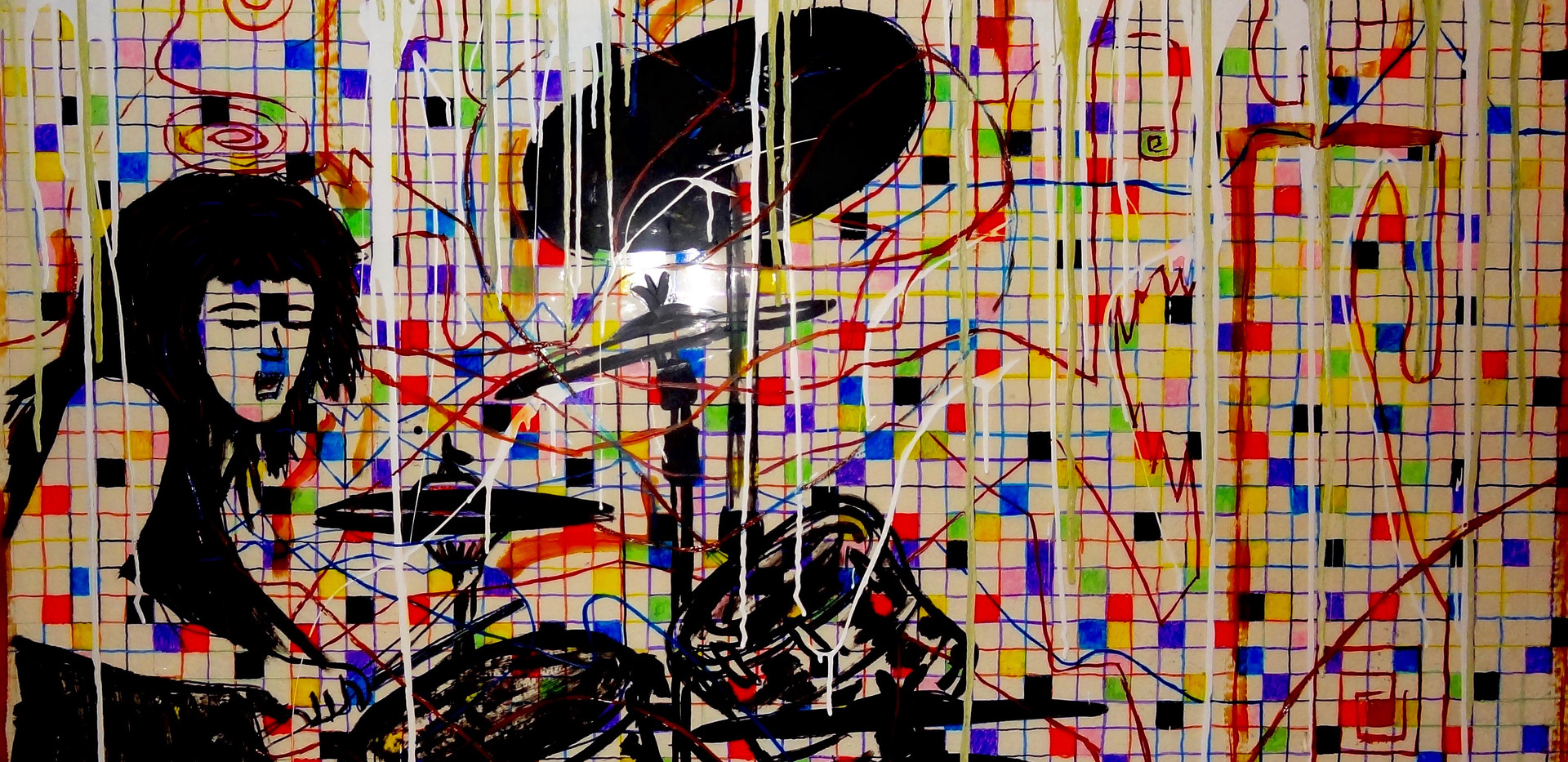 John Bonham. Acrylic on Glass.