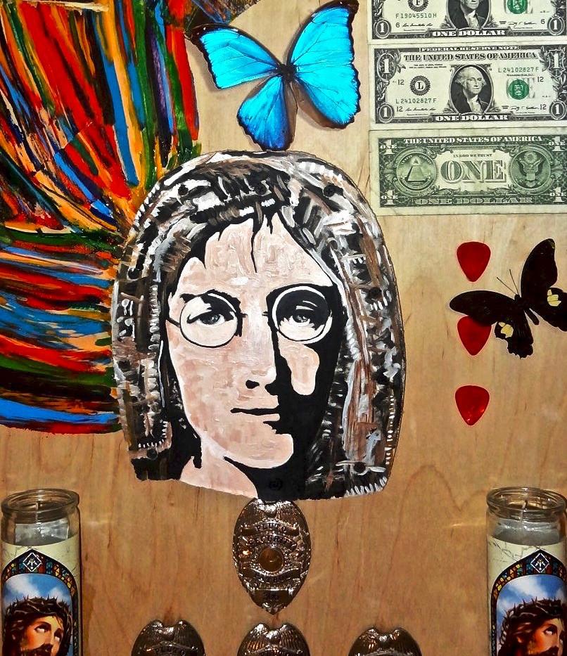 John Lennon Collage. Mixed Media on Wood.