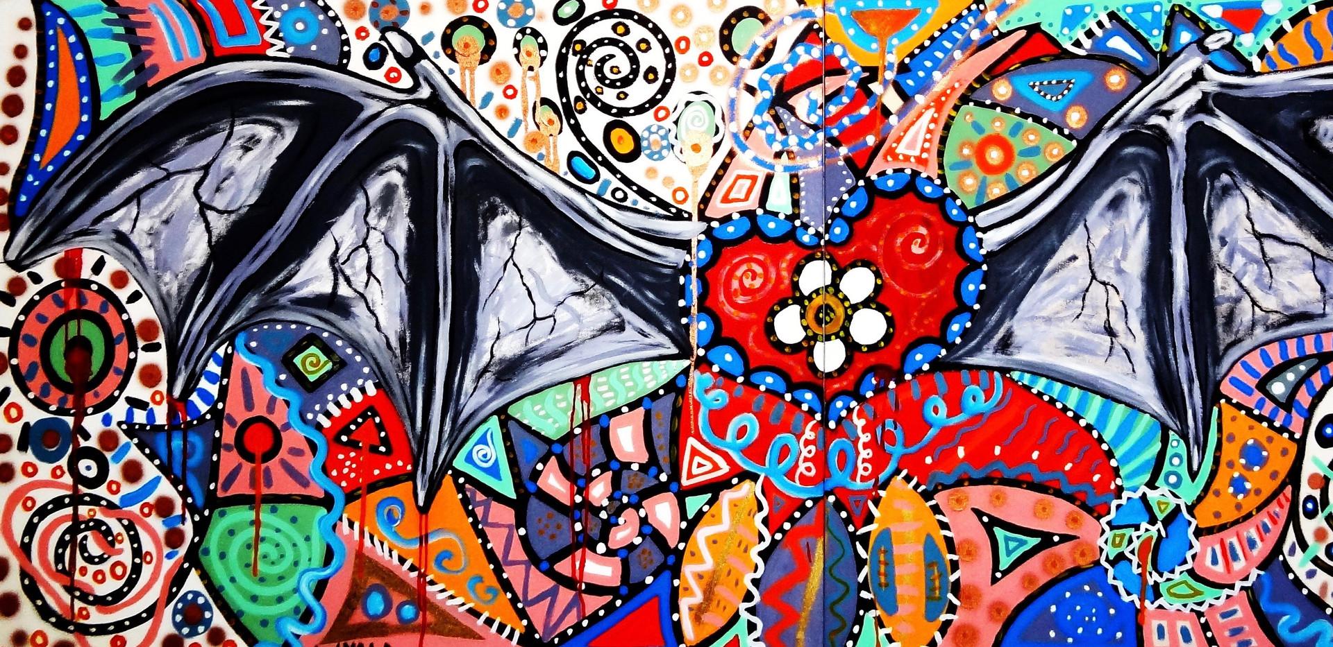 Corazon de Murcielago. Mixed Media on Canvas.