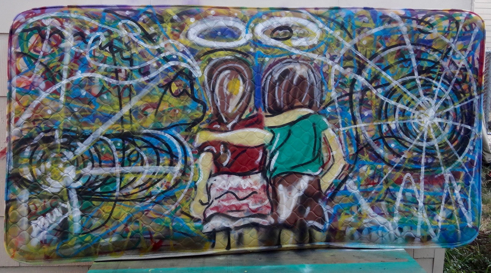 Friendship. Spray Paint on Bed.jpg
