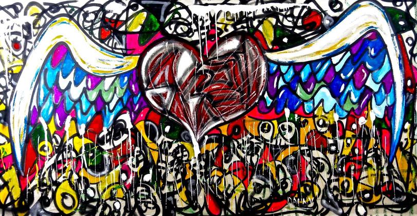 Corazon de Graffiti. Mixed Media on Canvas.