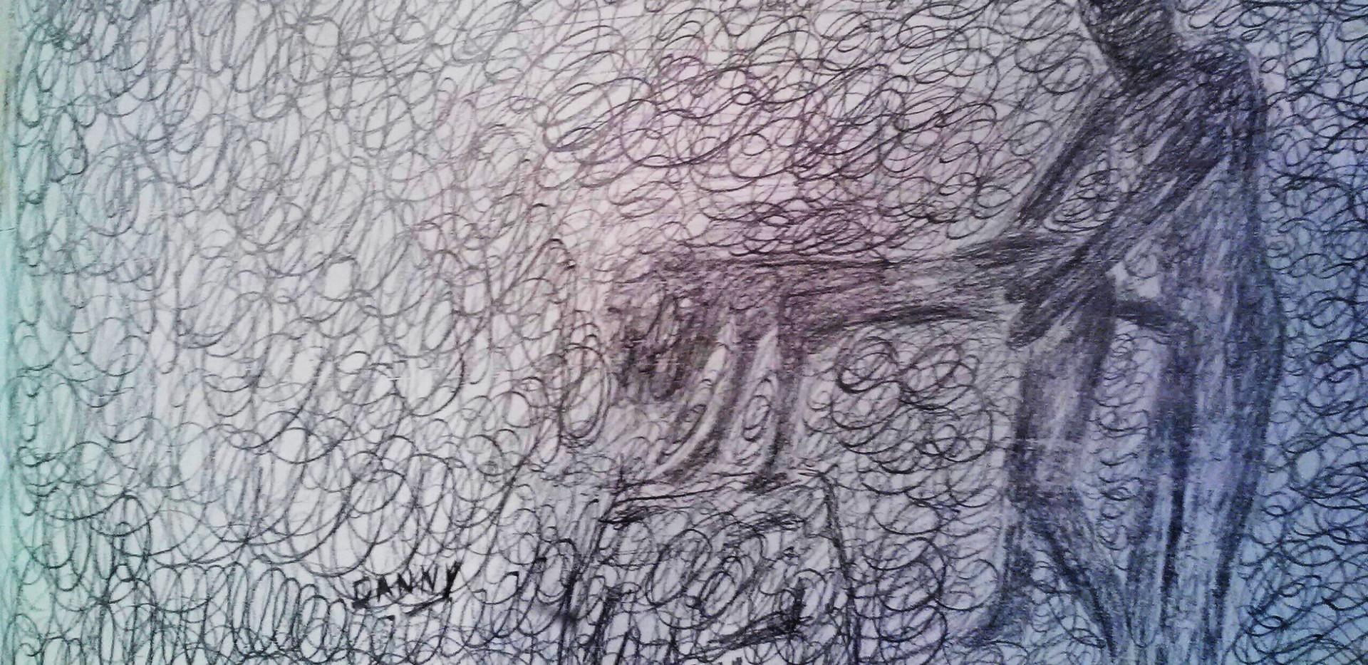 Doggie. Pencil on Canvas.