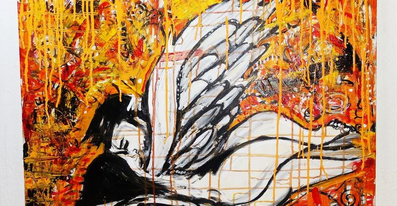 Angeles Follando Mixed Media on Canvas.