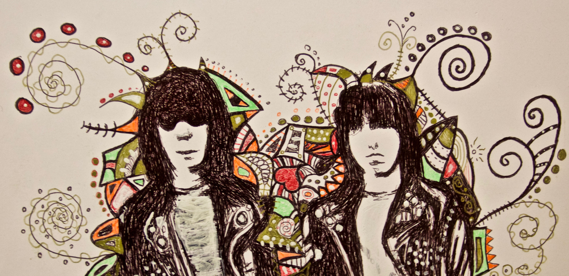 Joey And Johnny Ramone. Ink on Paper.