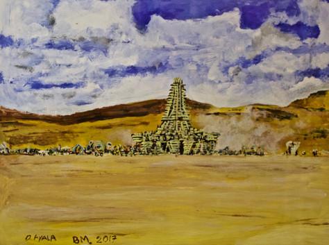 Burning Man Temple 2017. Acrylic on Pape