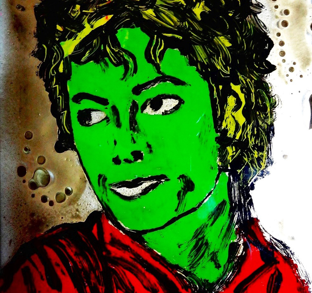 Michael Jackson. Acrylic on Glass.