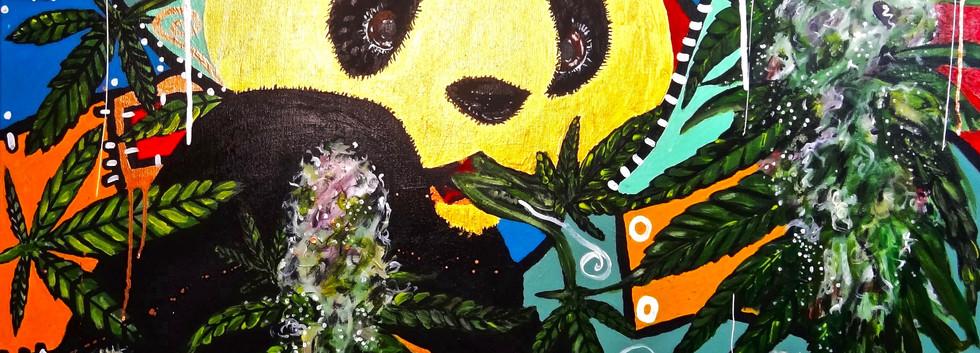 Panda on a Cannabis Field. Acrylic on Canvas.