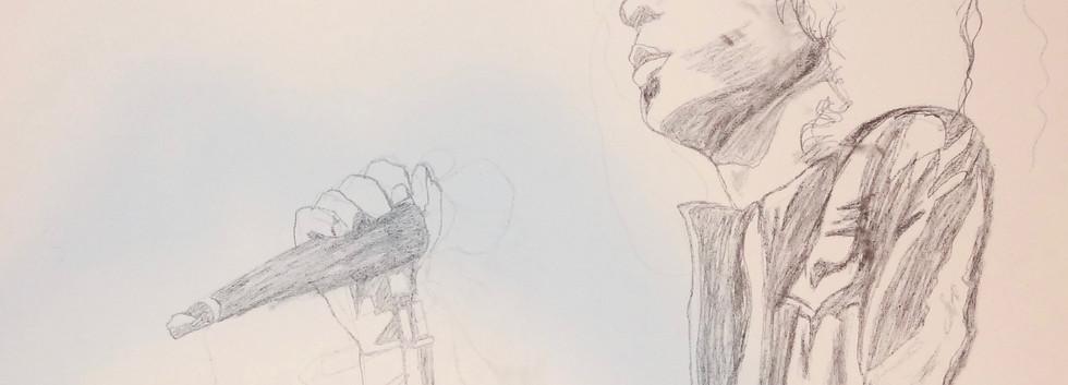 Jim Morrison Study. Pencil on Canvas.