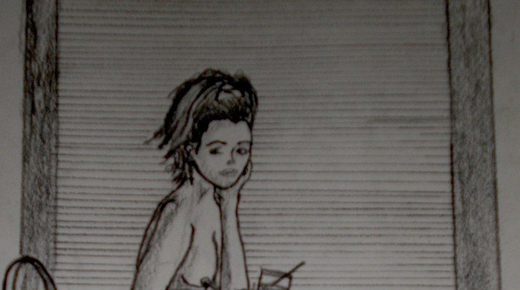 Mujer Desnuda Tomando Jugo. Pencil on paper.