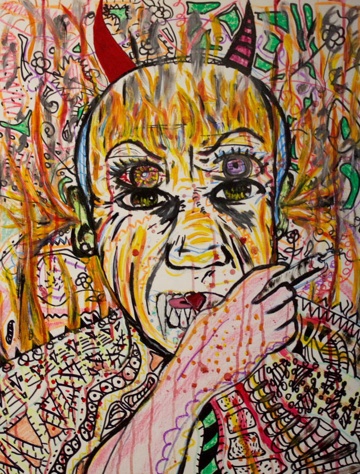 El Minotauro. Mixed Media on Canvas.