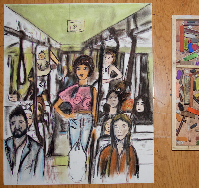 First pastel ever! SF Bart portraits