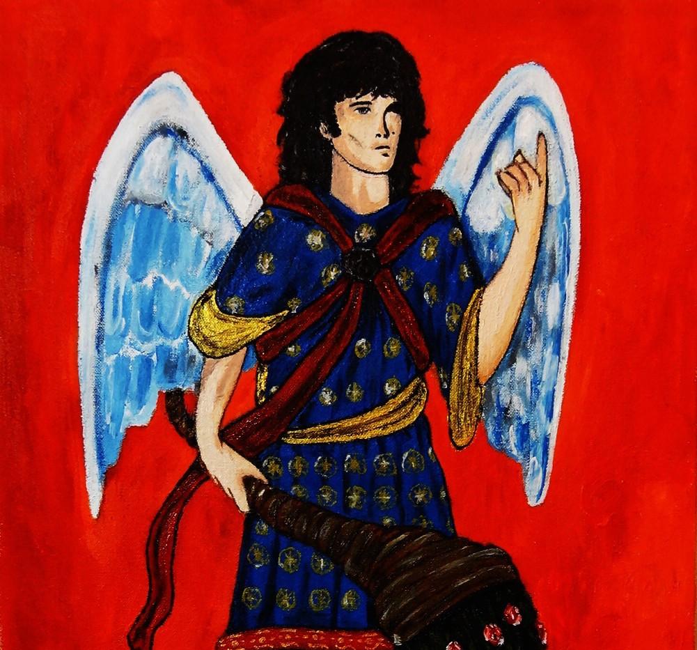 Jim Morrison as Angel Gabriel. Oil on Canvas.