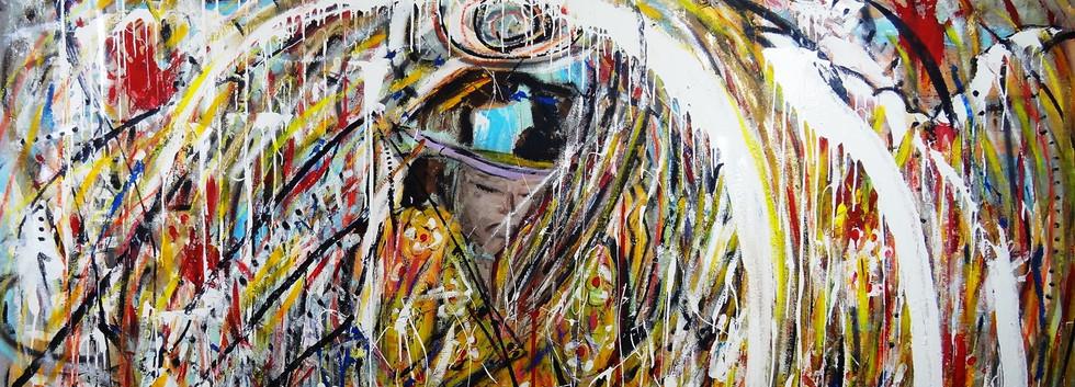 Jimi Hendrix Experiencing Art. Mixed Media on Canvas.