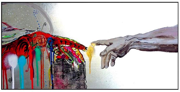 Man Creates Art. Oil on Metal.