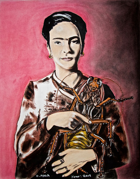 Frida Kahlo, cockroaches, soft patels art, danny ayala mexican artist,
