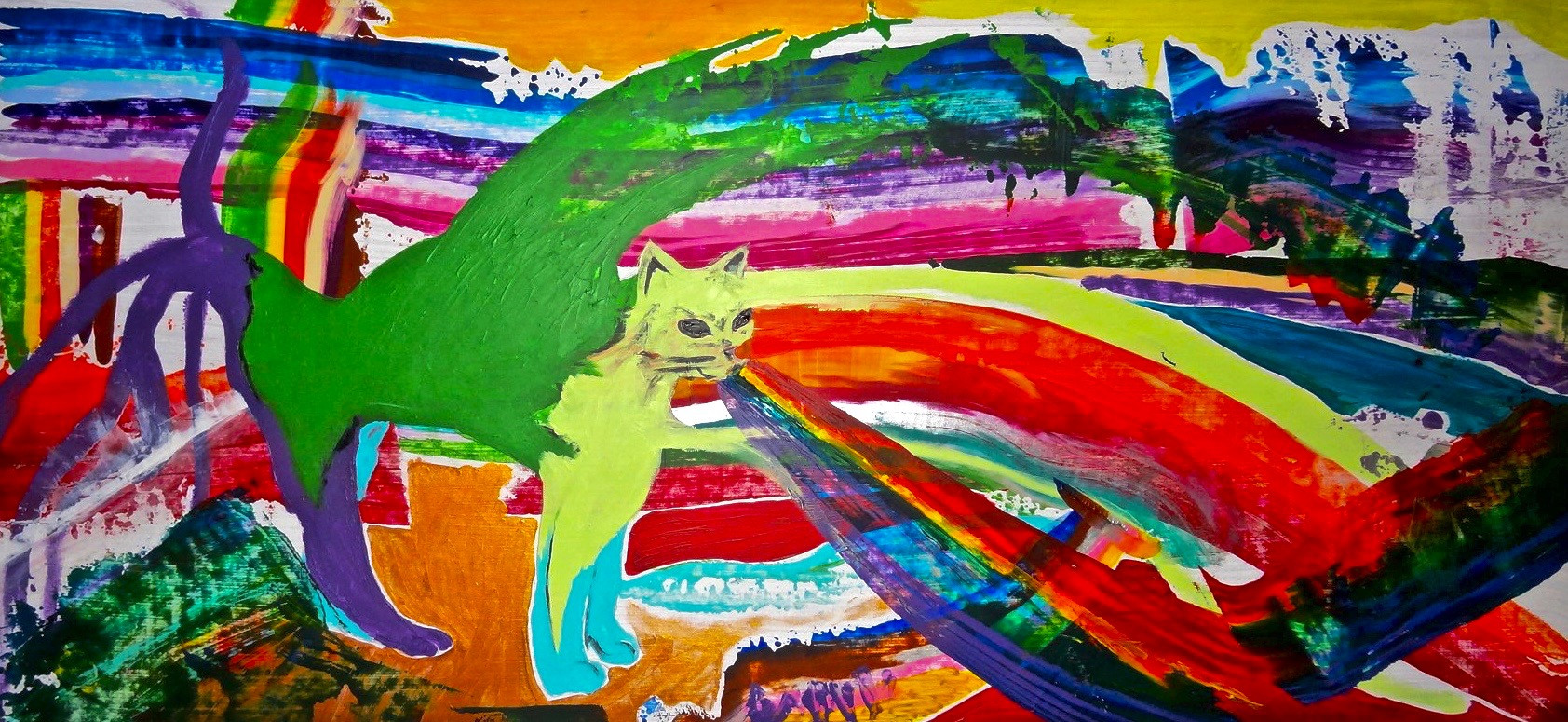 Bright Side of The Cat. Mixed Media on W