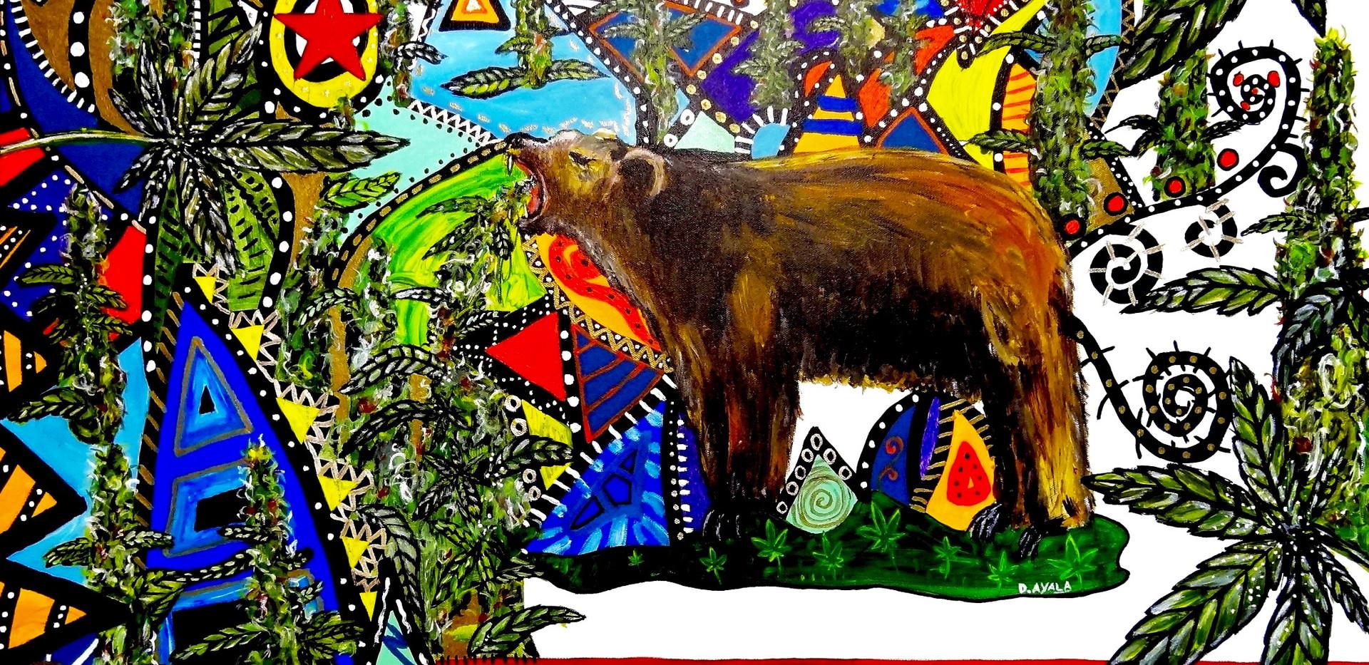 California Cannabis Bear. Acrylic on Canvas