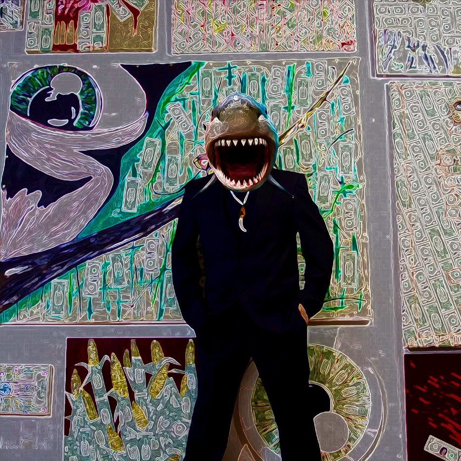 Art Shark Dealer Digital Collage.