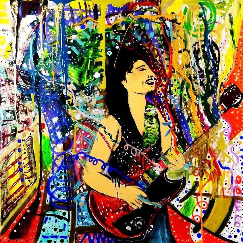 Carlos Santana. Mixed Media on Canvas.