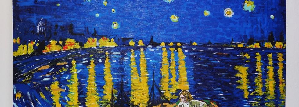 Kurt Cobain en la Noche Estrellada. Acrylic on Canvas.