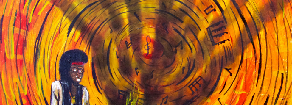 Jimi Burning His Guitar. Mixed Media on Canvas.