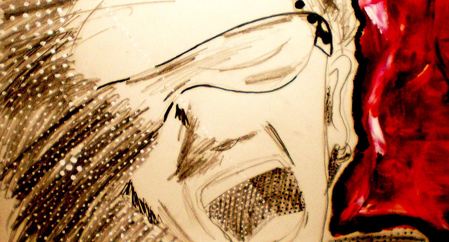 Bono U2. Acrylic on Paper.