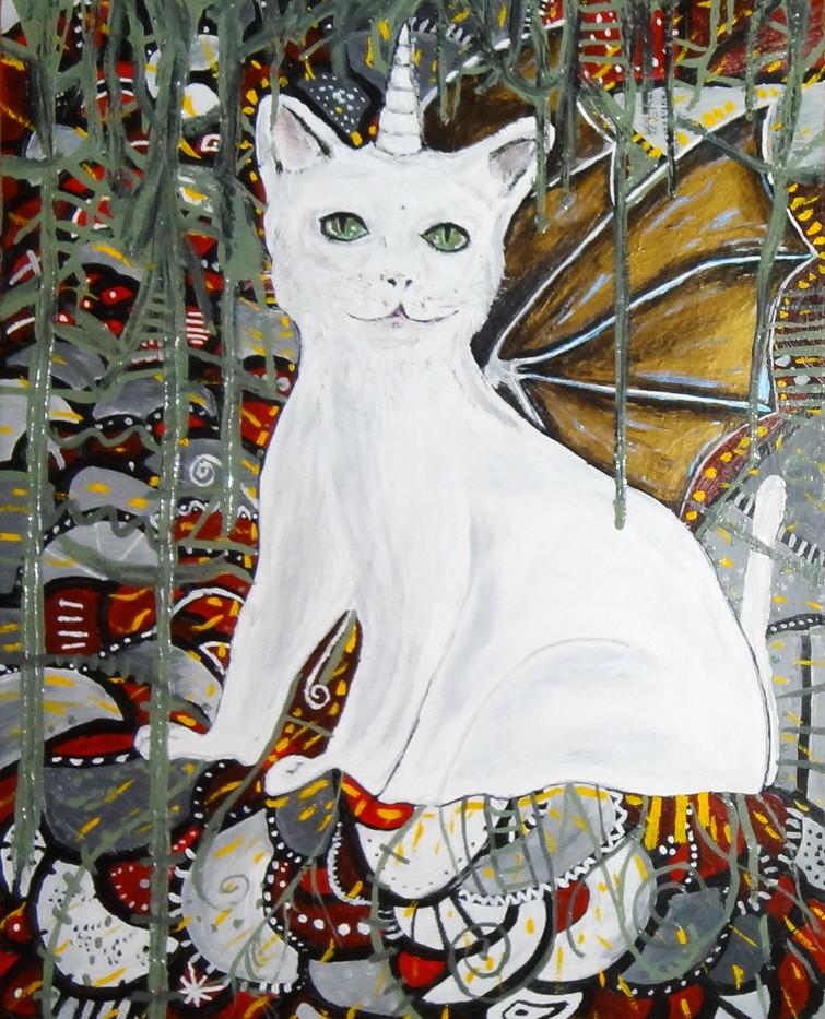 Angel, Unicornio Gato. Mixed Media.