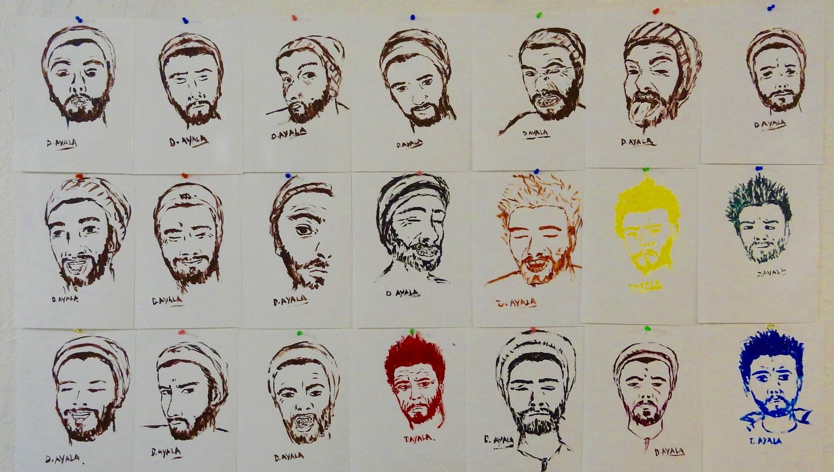 Portraits. Acrylic on Paper.