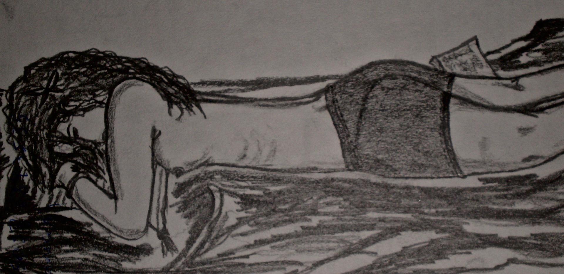 Nude Nicaraguan Woman. Pencil on Paper.