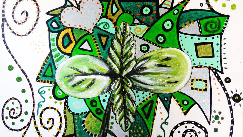 Cannabis Sprout. Acrylic on Canvas.