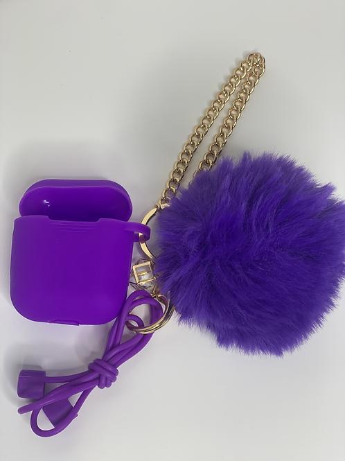 Puff Ball Airpod Case (dark purple)