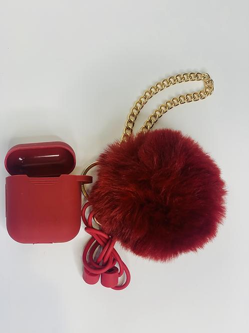 Puff Ball Airpod Case ( dark red)