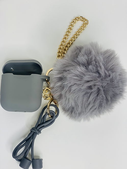 Puff Ball AirPod case (grey)