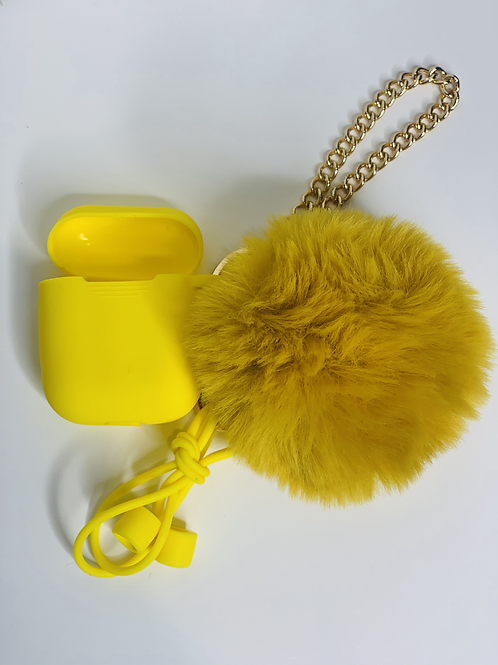 Puff Ball Airpod Case (yellow)