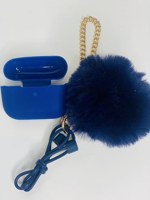 Puff Ball Airpod Case (dark blue)