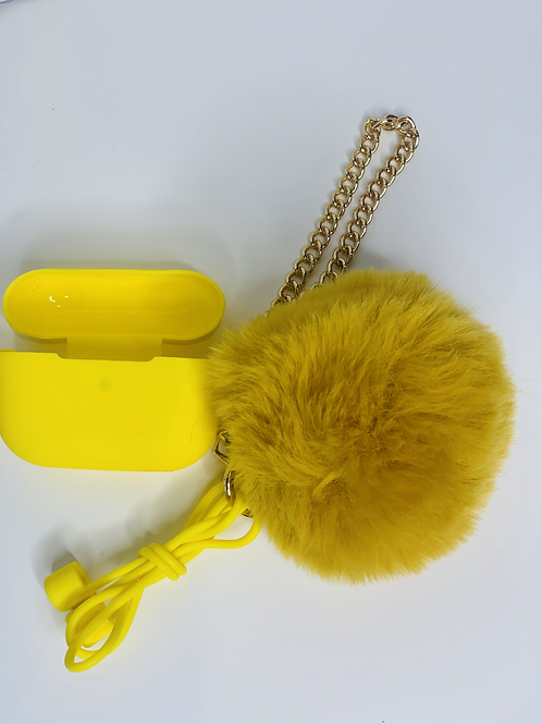 Puff Ball Airpod Cases (yellow)