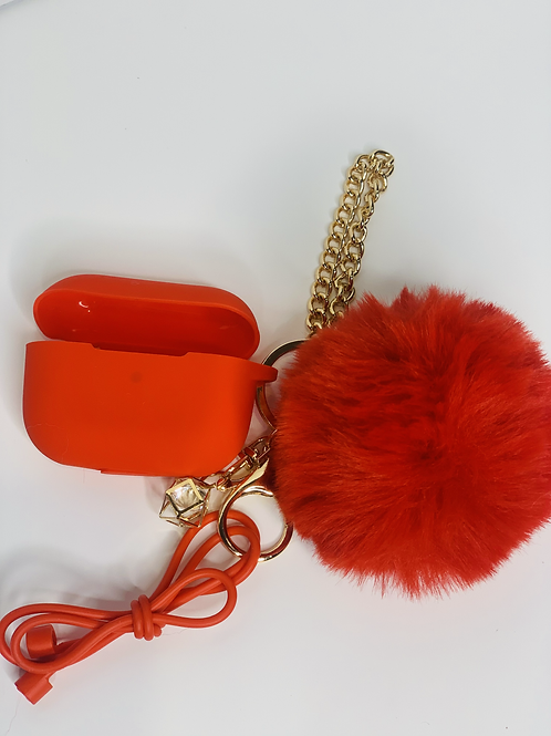 Puff Ball Airpod Cases (fire red)