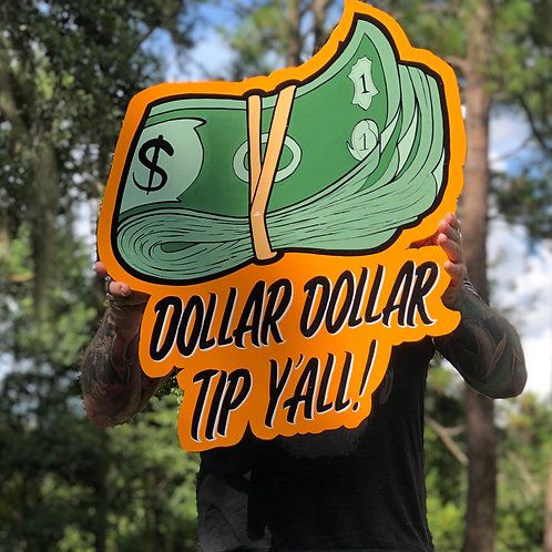 dollar dollar tip y'all woodcut