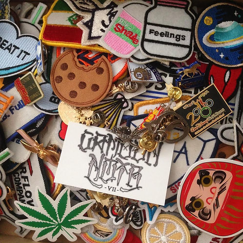 random mystery pack of wonderfulness (patches, pins, cards, stickers, etc.)