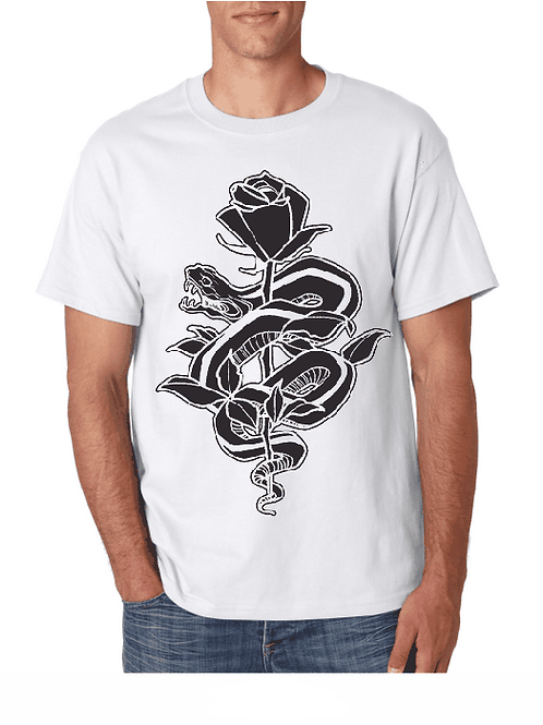 snake and rose shirt - white