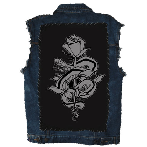 snake and rose back patch