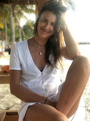 girl at the beach, white dress, bohemian girl, palm trees, good vibes