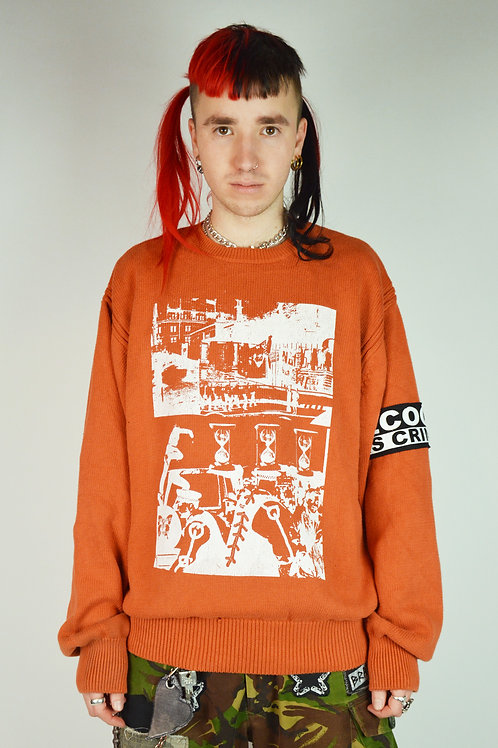 Orange Protest Print Knit Jumper