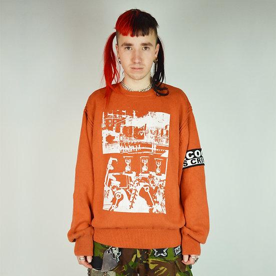 Orange Protest Print Knit Jumper