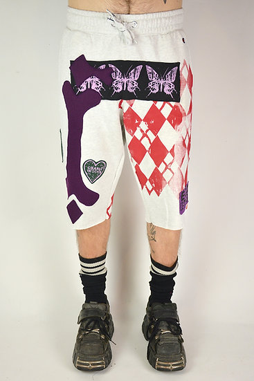 Skeleton White Jogger Shorts
