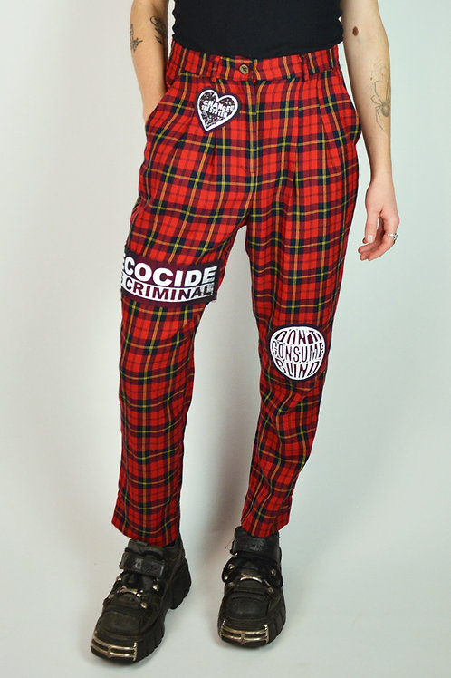 Red Plaid Patch Trousers