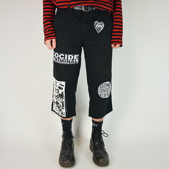 Black Patched Protest Shorts
