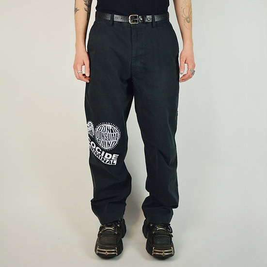 Black Patched Protest Trousers