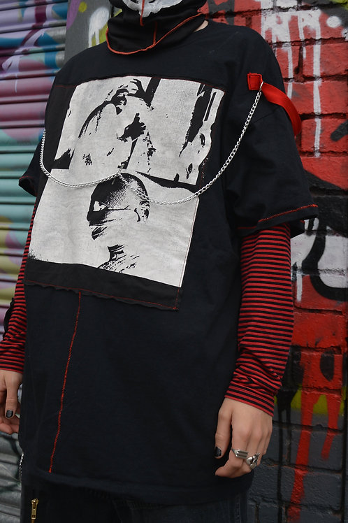 BLACK/RED BONDAGE PATCH T SHIRT